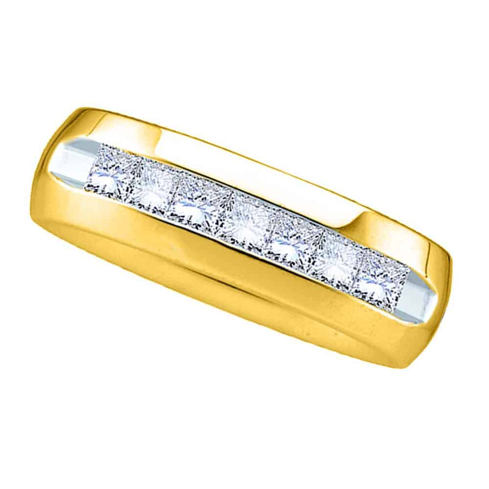 14kt Yellow Gold Mens Princess Channel Set Diamond Wedding Anniversary Band Ring (View 10 of 25)