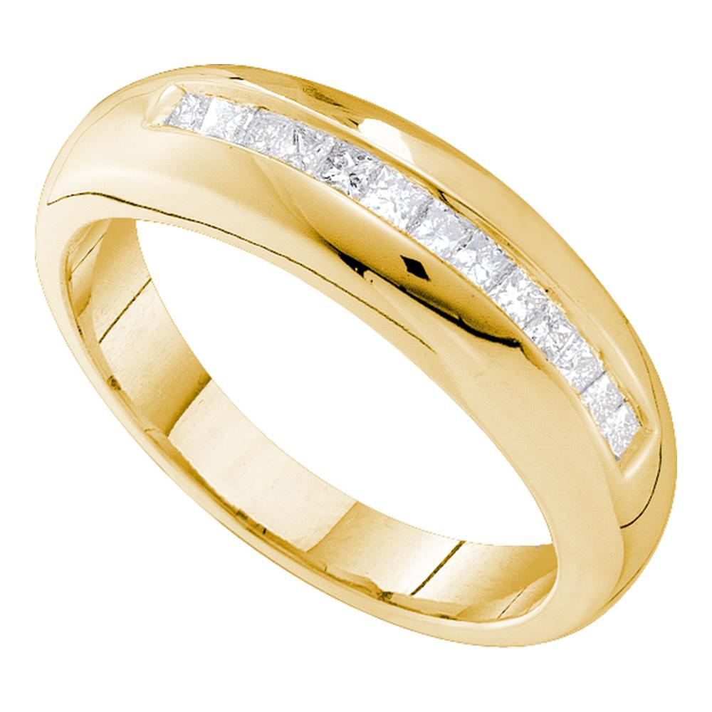 14kt Yellow Gold Mens Princess Channel Set Diamond Wedding Band Ring 1/2 Cttw Pertaining To Recent Diamond Channel Anniversary Bands In Gold (View 9 of 25)