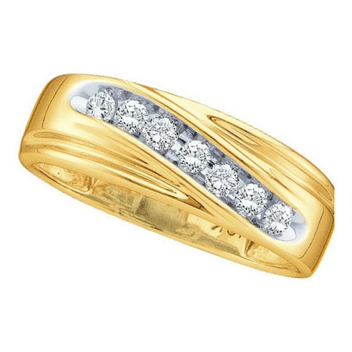 14Kt Yellow Gold Mens Round Channel Set Diamond Wedding Anniversary Band  Ring 1/4 Cttw Inside Newest Diamond Channel Set Anniversary Bands In Gold (View 10 of 25)