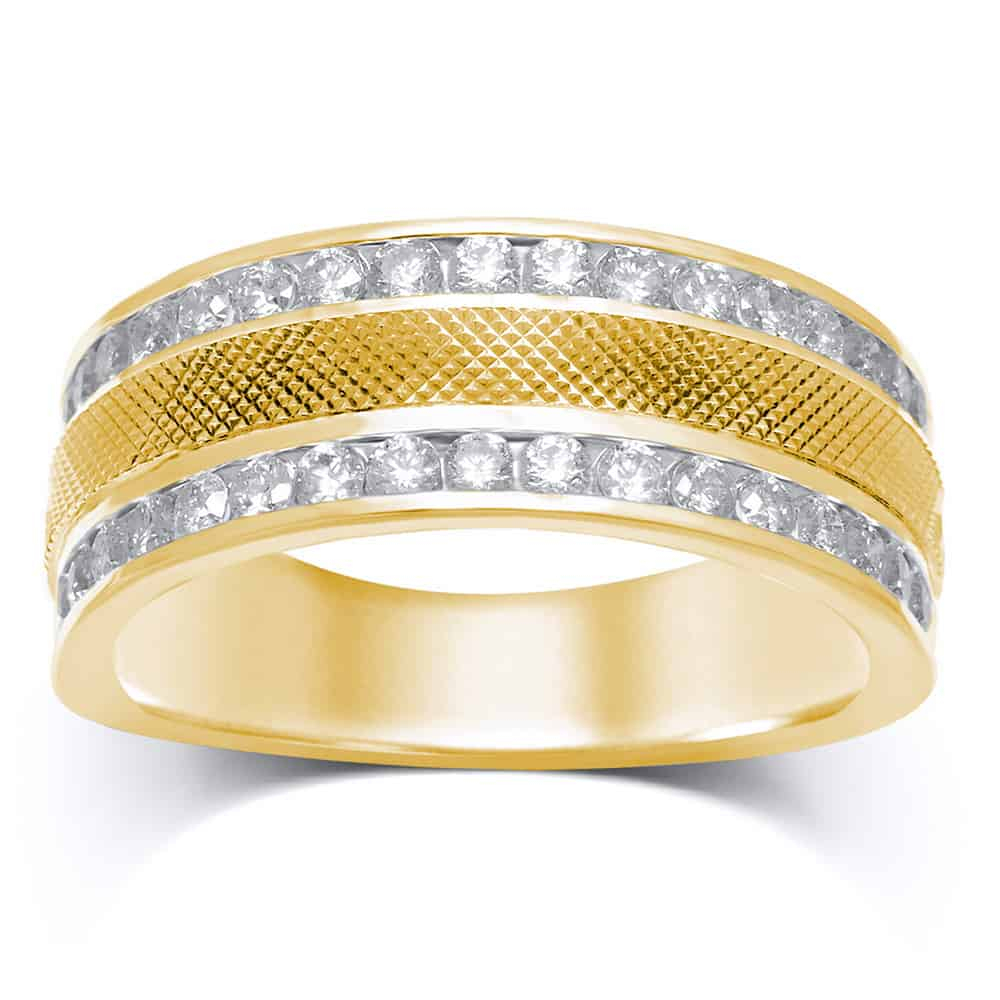 14Kt Yellow Gold Mens Round Diamond Double Row Textured Wedding Band Ring   (View 7 of 25)
