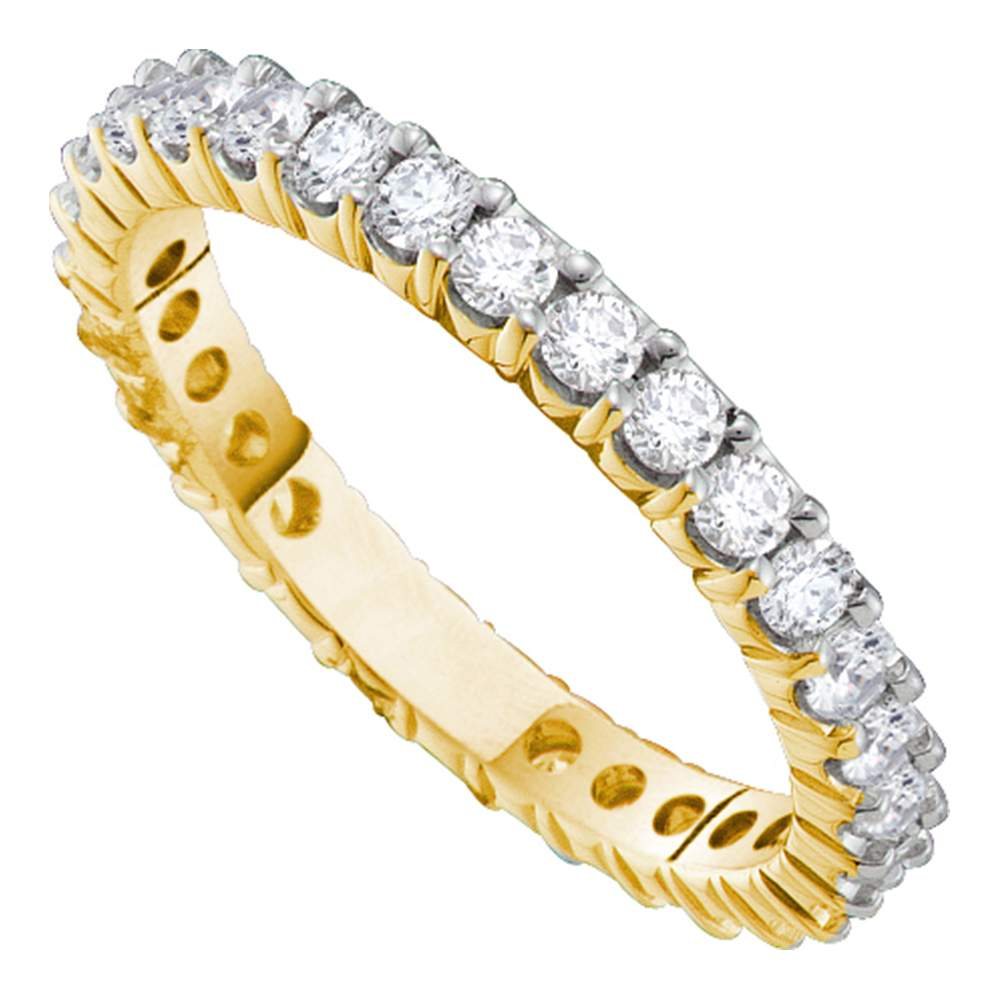 14Kt Yellow Gold Womens Round Pave Set Diamond Eternity Wedding Band  (View 1 of 25)