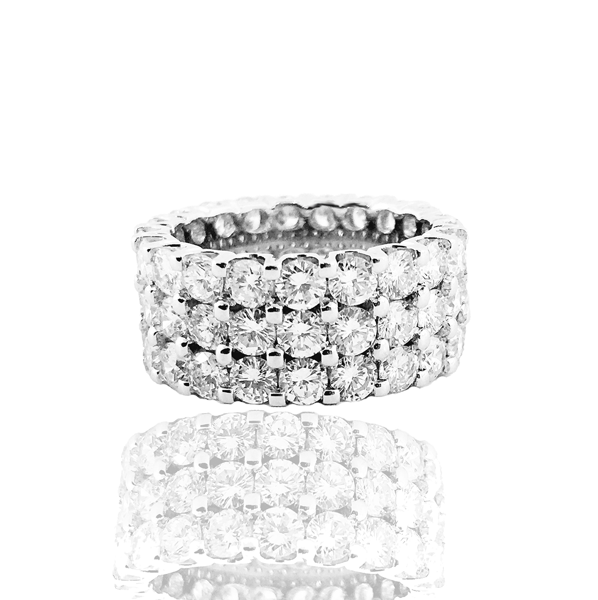 Featured Photo of Diamond Three Row Anniversary Bands In White Gold