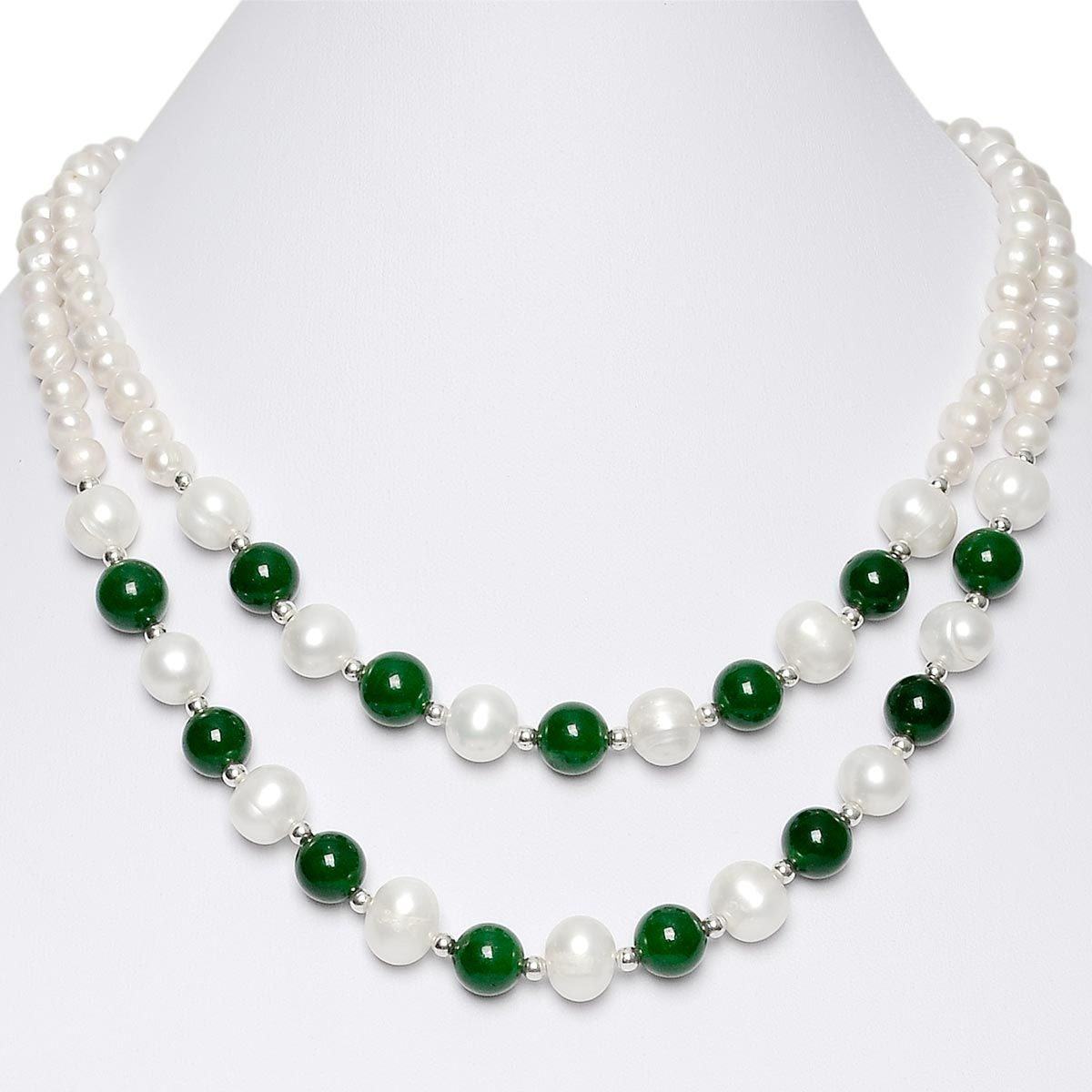 17 Inch White Freshwater Cultured Pearls Round Green Malaysia Jade Double Strand Necklace Throughout Most Up To Date Freshwater Cultured Pearls & Beads Necklaces (View 16 of 25)