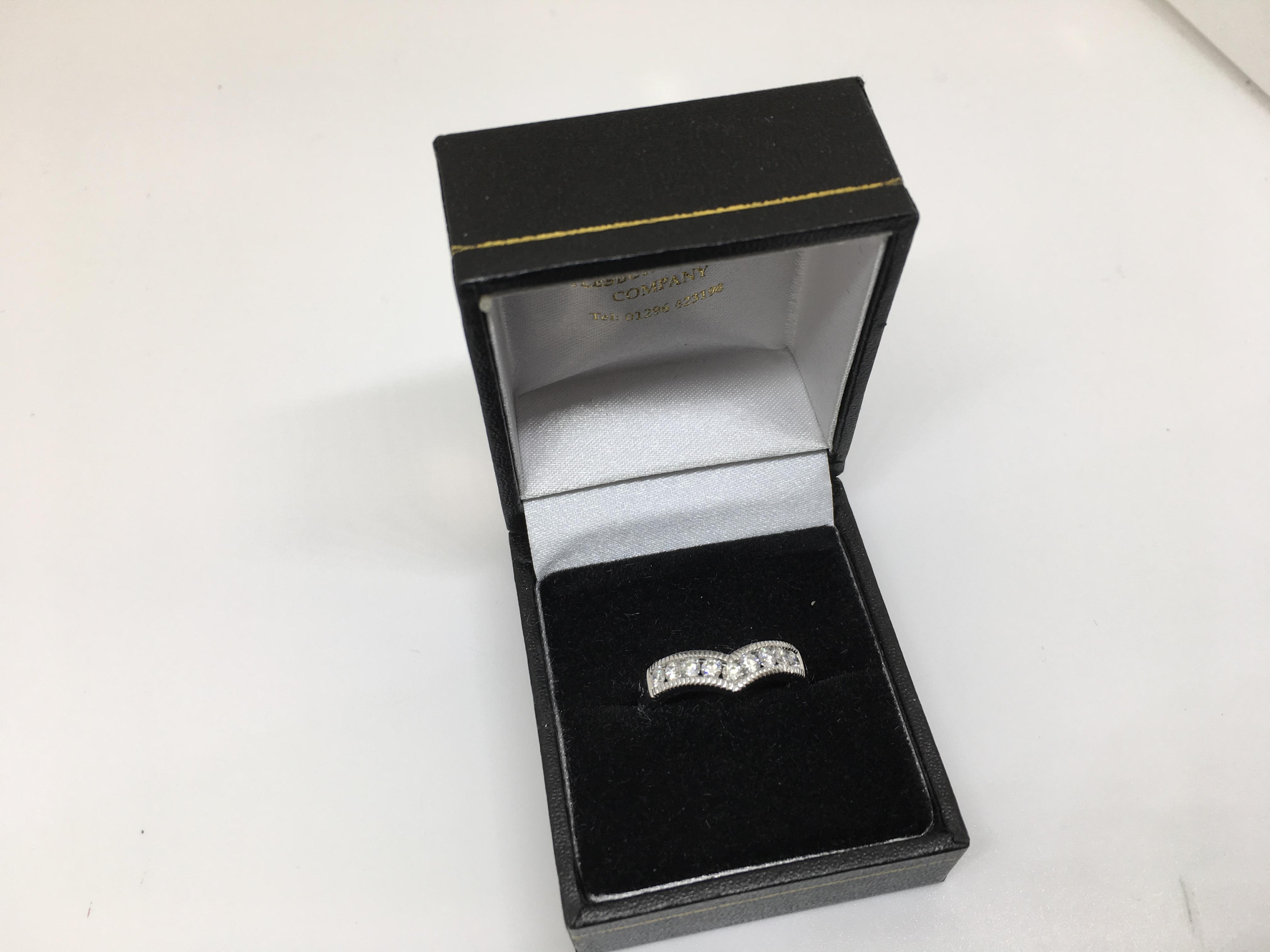 18 Carat White Gold Diamond Wishbone Ring For Most Popular Beaded Wishbone Rings (View 1 of 25)