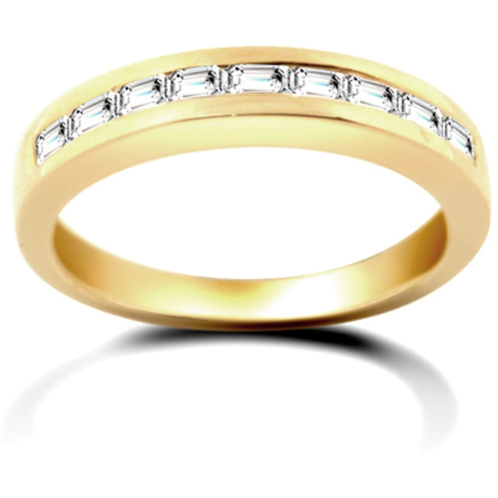 18 Carat Yellow Gold 50Pt Channel Set Baguette Diamond Half Eternity Ring Throughout Current Baguette Diamond Channel Set Anniversary Bands In White Gold (View 4 of 25)