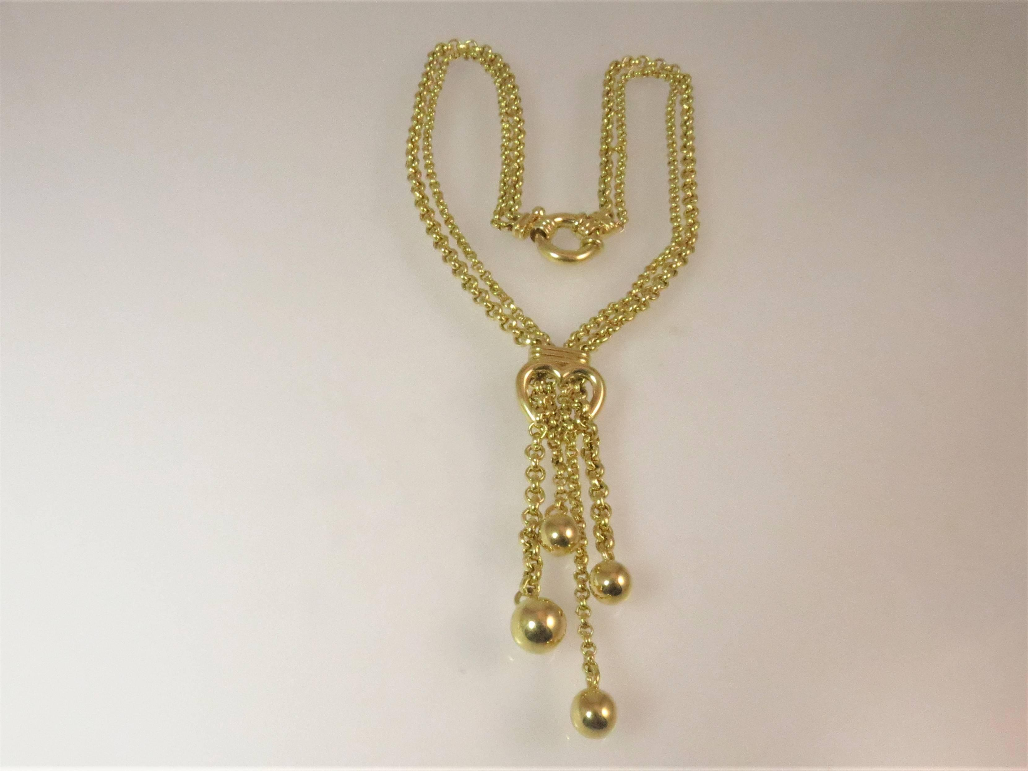 18 Karat Yellow Gold Double Strand Tassel Link Necklace With Heart Design Regarding Recent Ornate Hearts Tassel Necklaces (View 1 of 25)