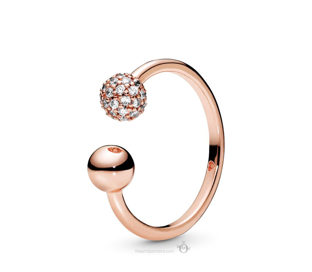 188316Cz Pandora Rose Polished And Pave Bead Open Ring – The Art Of Inside 2017 Beaded Two Hearts Open Rings (View 1 of 25)