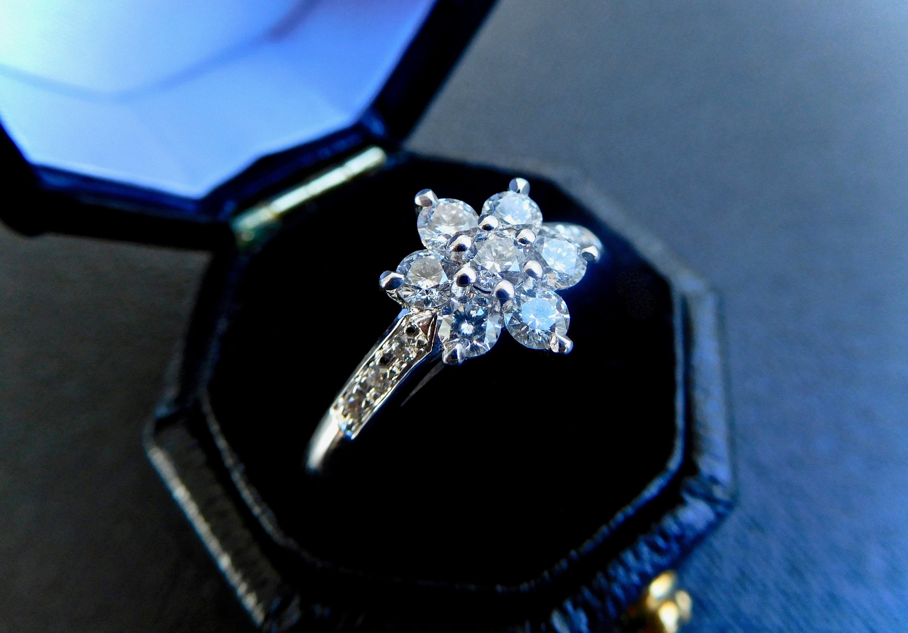 18Ct & Diamond Daisy Cluster, Cluster Diamond Engagement Ring Intended For 2018 Classic Daisy Flower Band Rings (View 2 of 25)