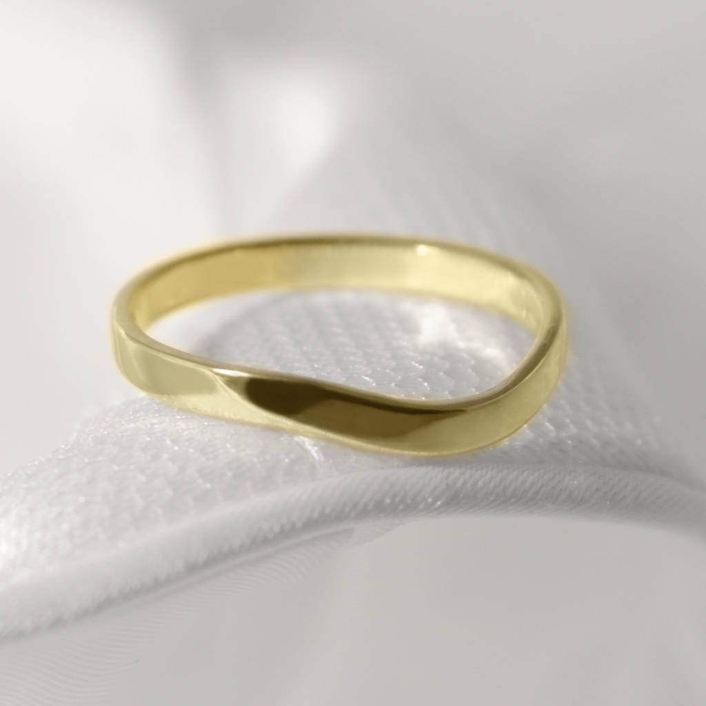 18ct Gold Curved Wishbone 'berridale' Wedding Ring Regarding Current Polished Wishbone Rings (View 15 of 25)