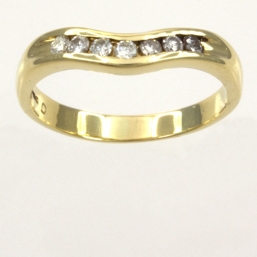 18ct Gold Diamond Wishbone Ring Size U In Most Popular Sparkling Wishbone Rings (View 14 of 25)