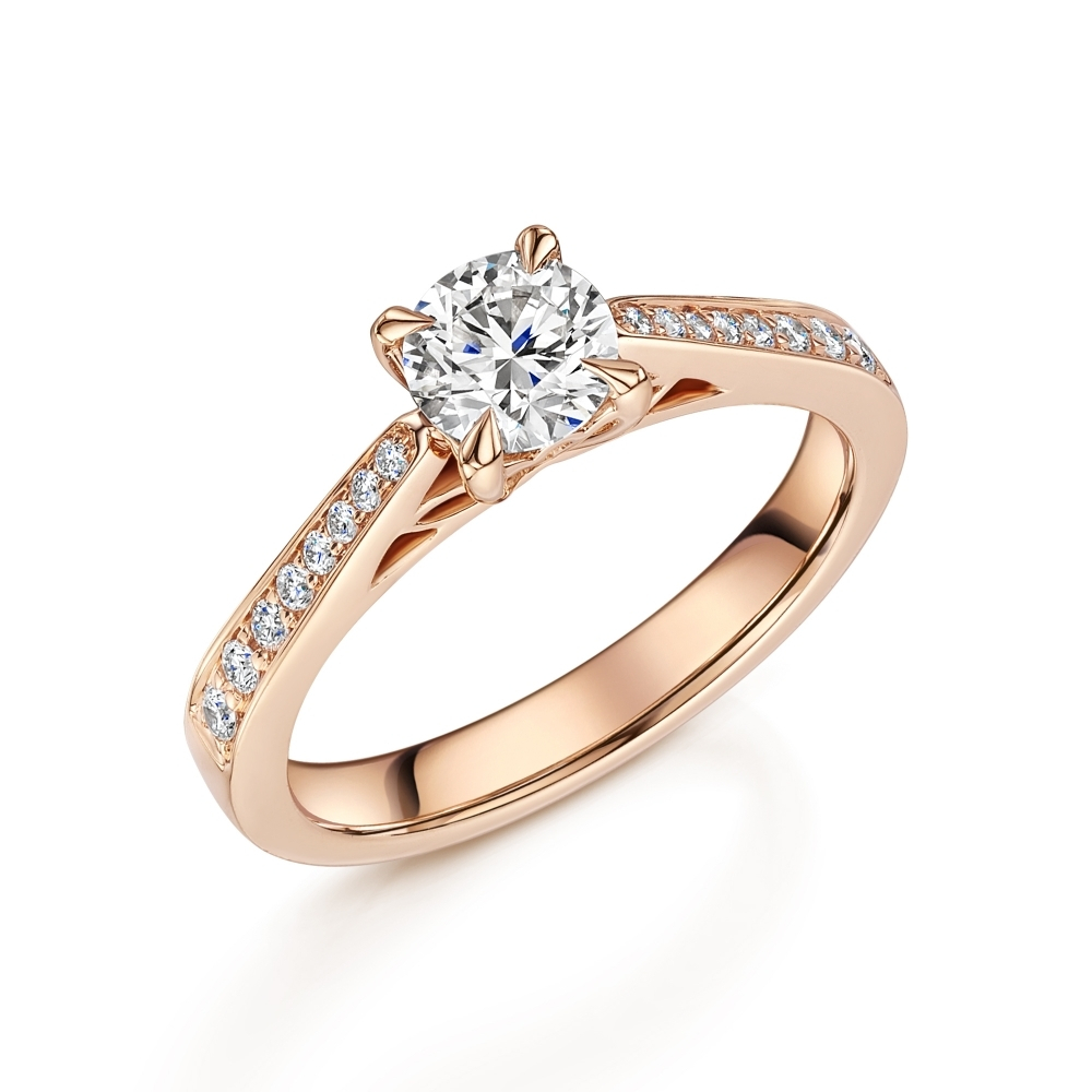 18Ct Rose Gold Diamond Single Stone Ring With Diamond Shoulders Limited  Edition For Most Recent Certified Diamond Anniversary Bands In Rose Gold (View 8 of 25)