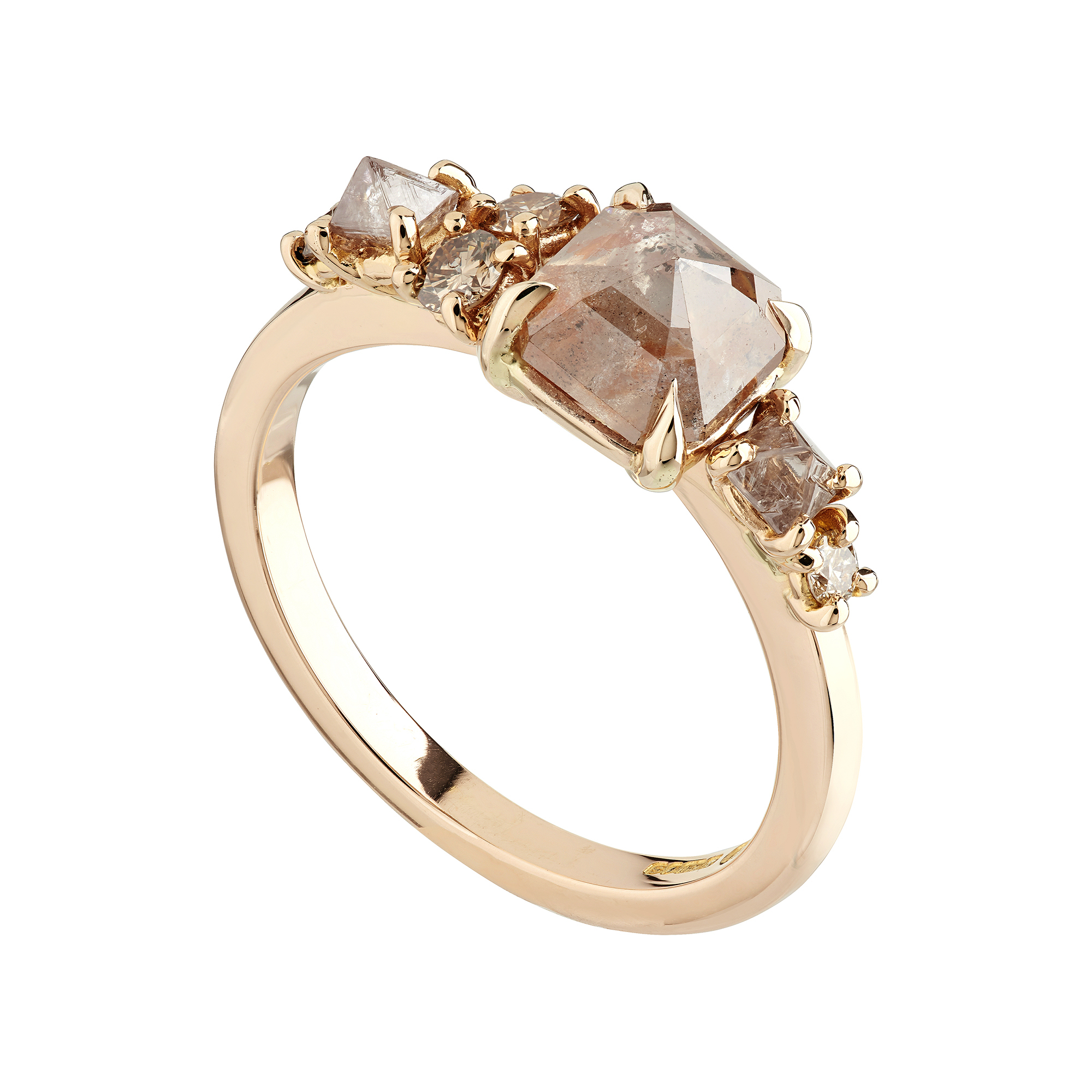 18ct Rose Gold Rose Cut And Rough Cut Diamond Cluster Ring With Champagne Diamonds In Most Recently Released Champagne Diamond Anniversary Bands In Rose Gold (View 16 of 25)