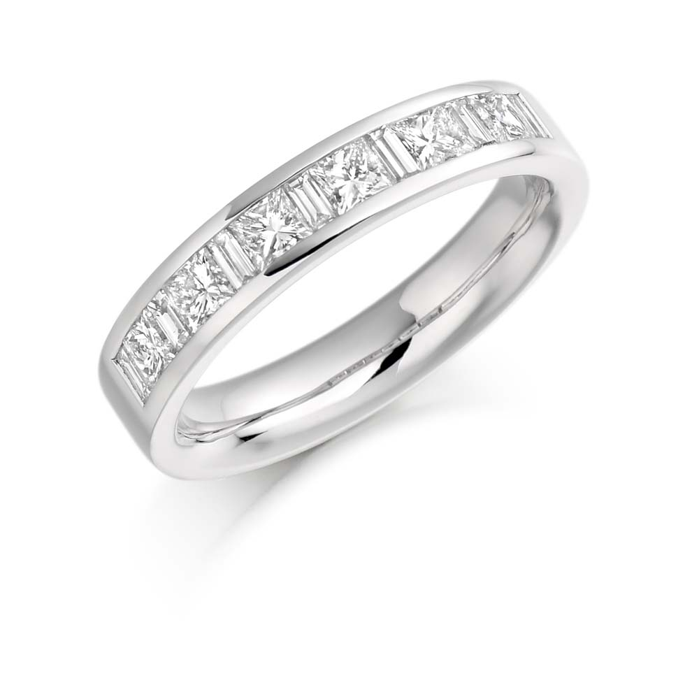 18ct White Gold 1ct Princess Cut Baguette Cut Diamonds Vintage Wedding Ring Het919w Within 2020 Baguette And Round Diamond Alternating Vintage Style Anniversary Bands In White Gold (View 18 of 25)