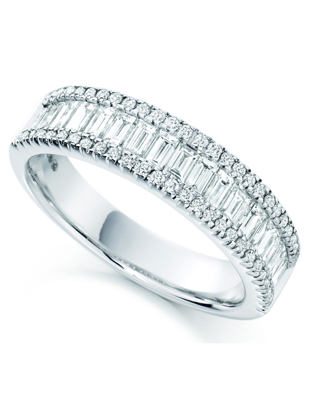 18Ct White Gold Baguette And Round Brilliant Diamond Eternity Ring Regarding 2019 Baguette And Round Diamond Anniversary Bands In White Gold (View 4 of 25)