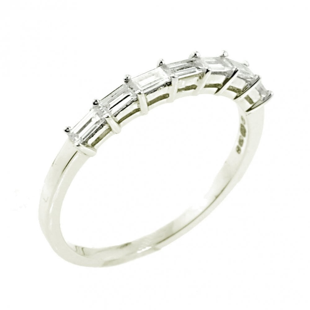 18Ct White Gold Baguette Cut Diamond Half Eternity Ring  (View 6 of 25)