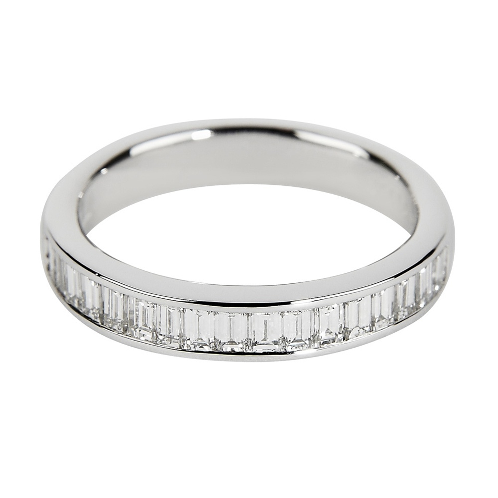 18Ct White Gold Channel Set Baguette Cut Diamond Eternity Ring With Most Popular Baguette Diamond Channel Set Anniversary Bands In White Gold (View 5 of 25)