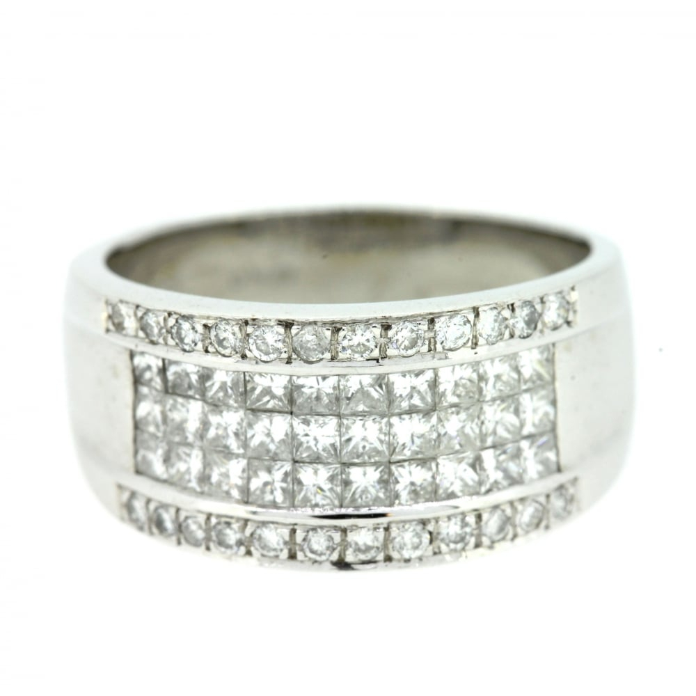 18Ct White Gold Diamond Fancy Band Ring Pertaining To Recent Sparkling & Polished Lines Rings (View 1 of 25)