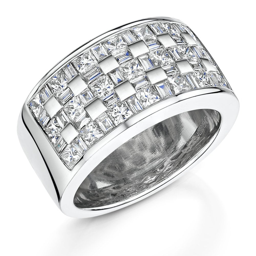 18Ct White Gold Five Row Diamond Ring With Current Certified Diamond Five Row Anniversary Bands In White Gold (View 10 of 25)
