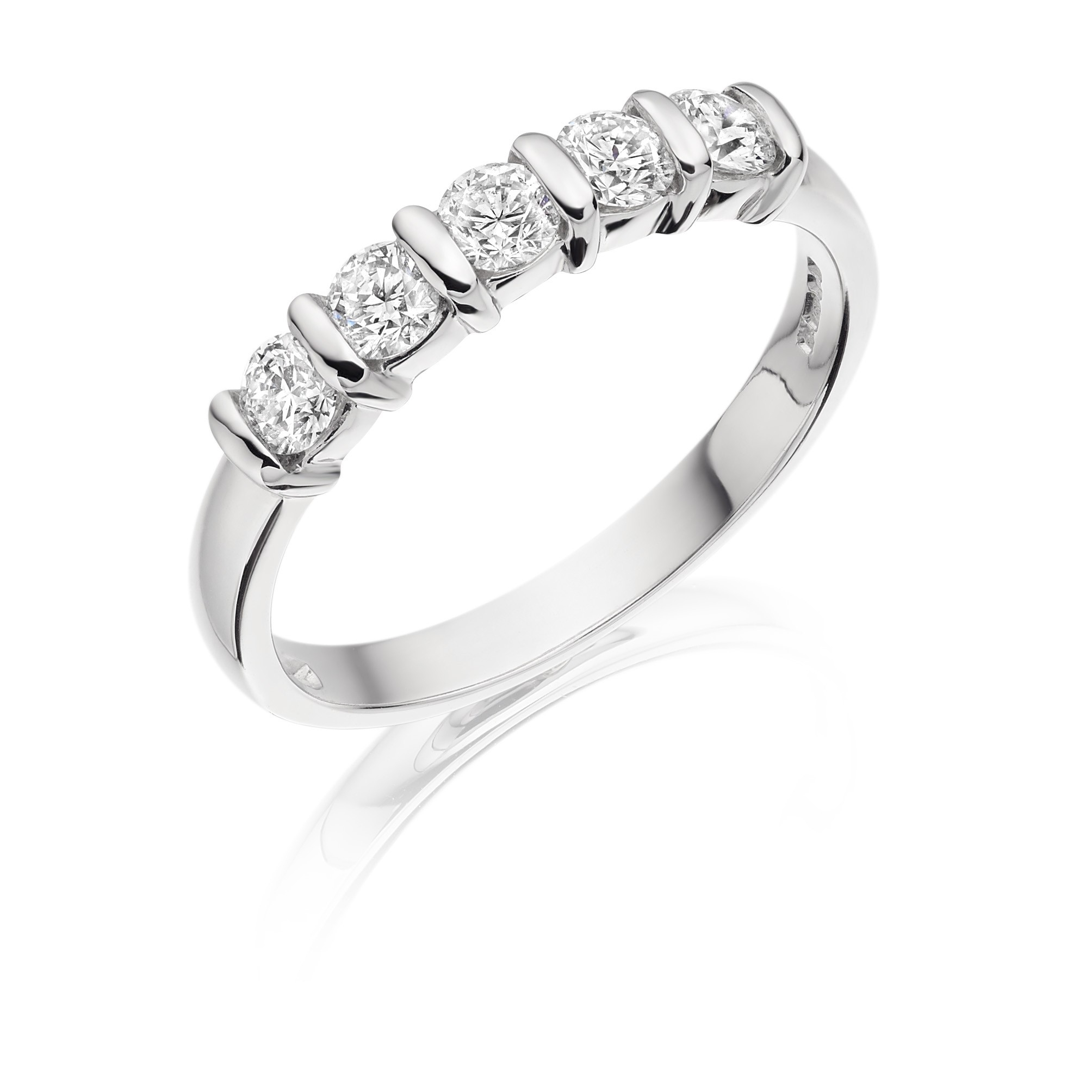 18Ct White Gold Five Stone Bar Set Diamond Ring 5Bs70K+ With Regard To Most Current Diamond Five Stone Bar Set Anniversary Bands In White Gold (View 6 of 25)