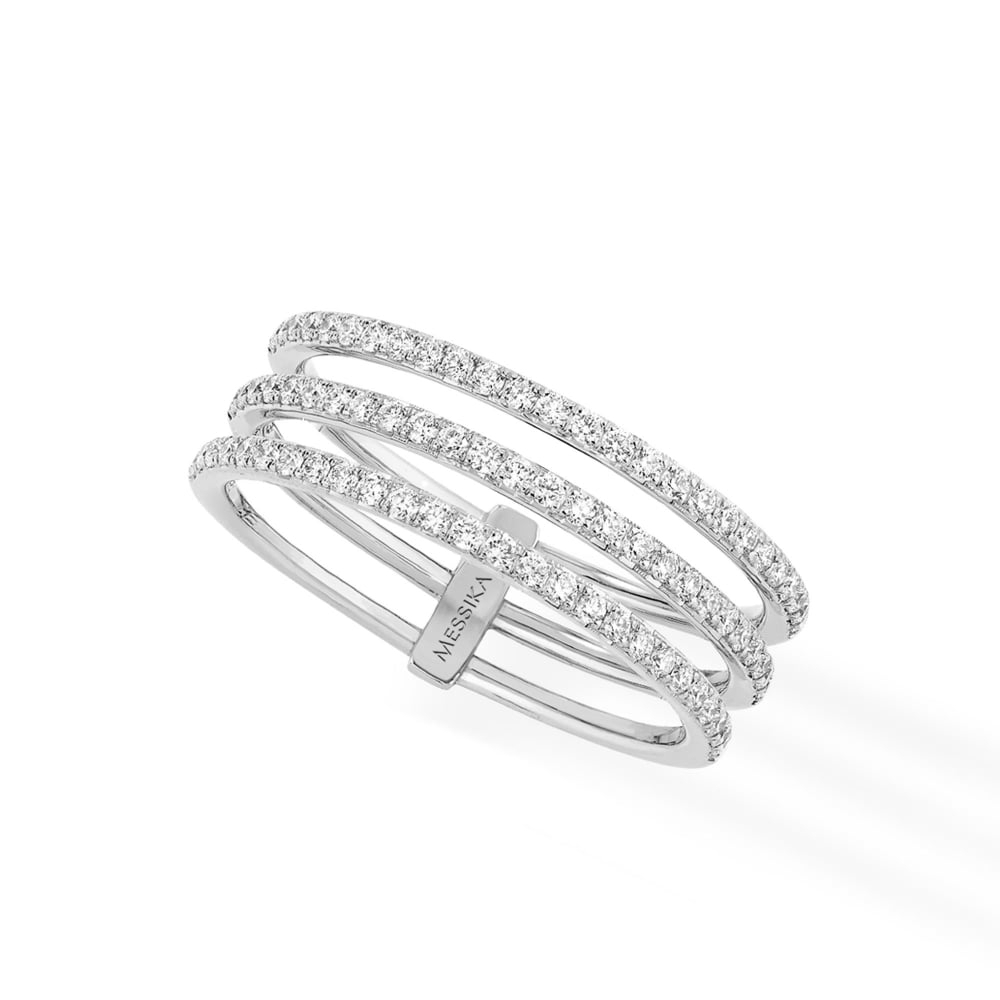 18ct White Gold 'gatsby' 3 Rows Pave Set Diamond Ring With Regard To Most Recent Diamond Three Row Tiered Anniversary Bands In White Gold (View 7 of 25)