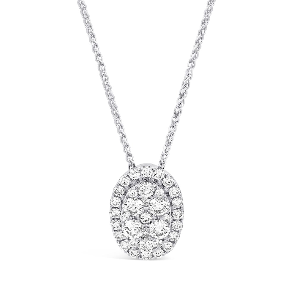 18Ct White Gold Oval Diamond Halo Cluster Pendant Pertaining To Latest Oval Sparkle Halo Pendant Necklaces (View 1 of 25)