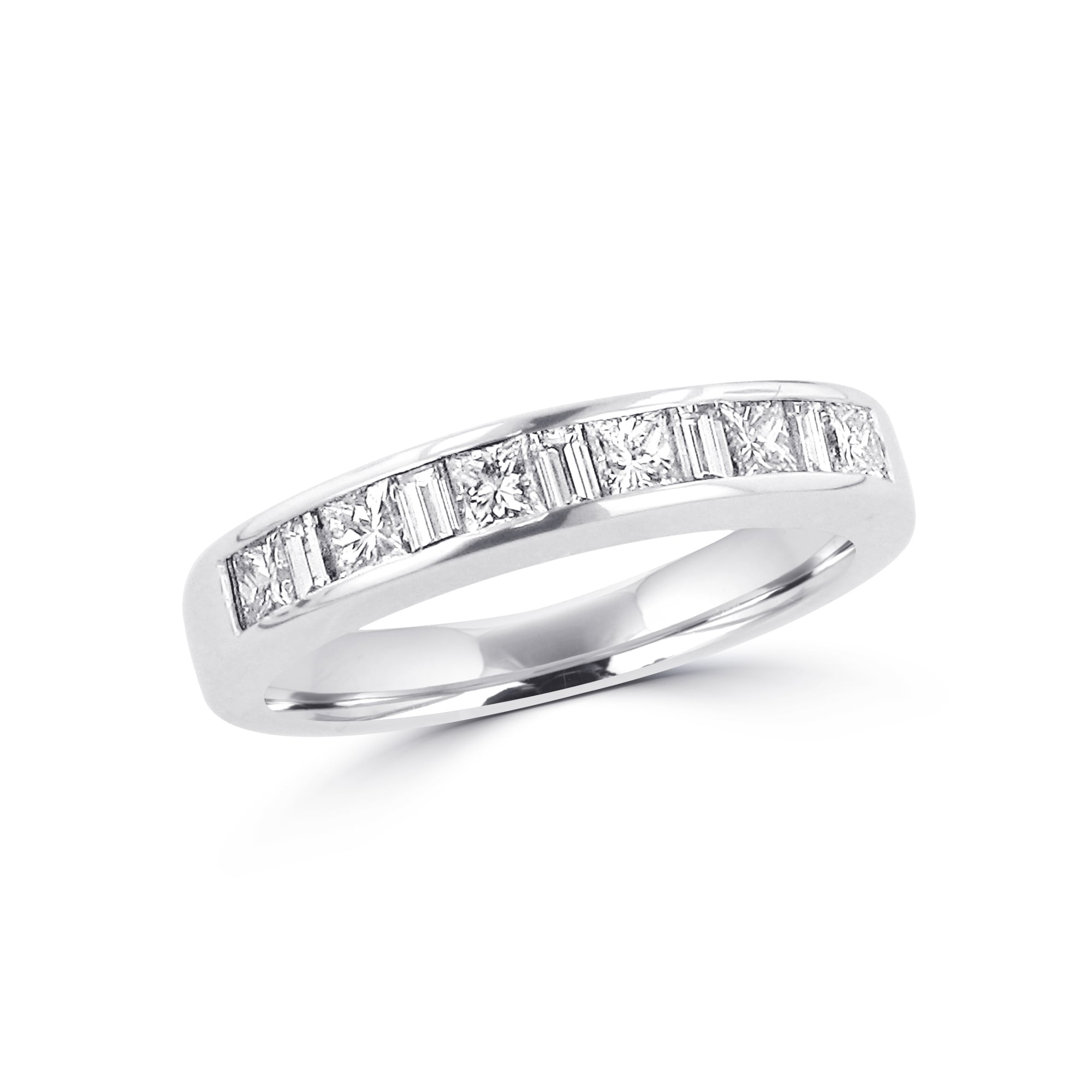 18Ct White Gold Princess And Baguette Diamond Eternity Ring  (View 7 of 25)