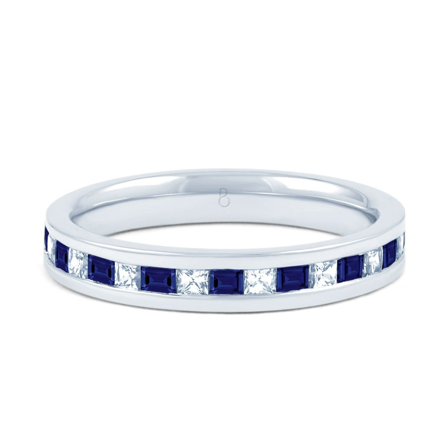 18Ct White Gold Princess Blue Sapphire & Diamond Eternity Ring In Current Princess Cut Diamond Anniversary Bands In White Gold (View 8 of 25)