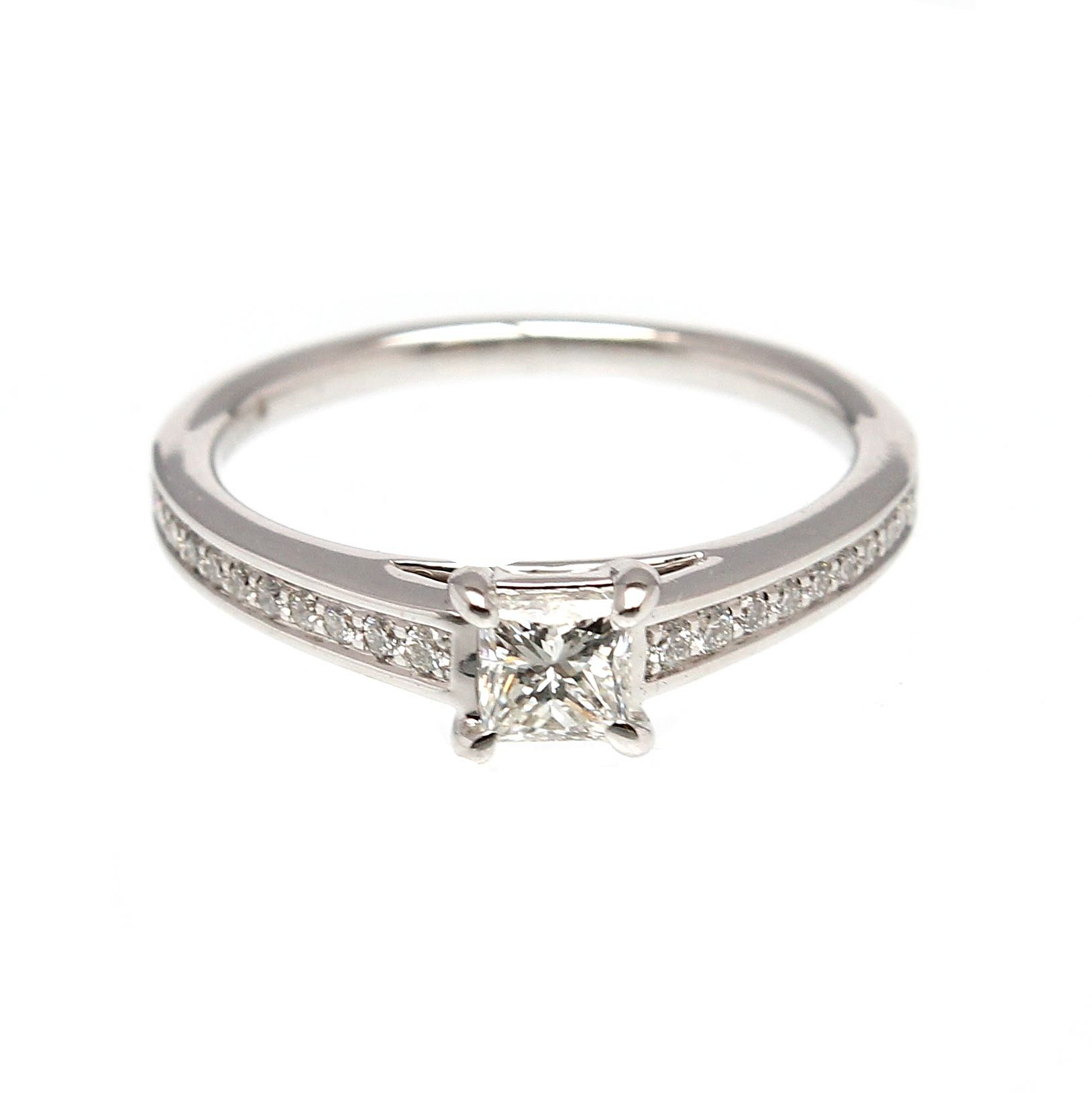 18Ct White Gold Princess Cut Diamond Ring With Diamond Shoulders With Recent Princess Wishbone Rings (View 3 of 25)