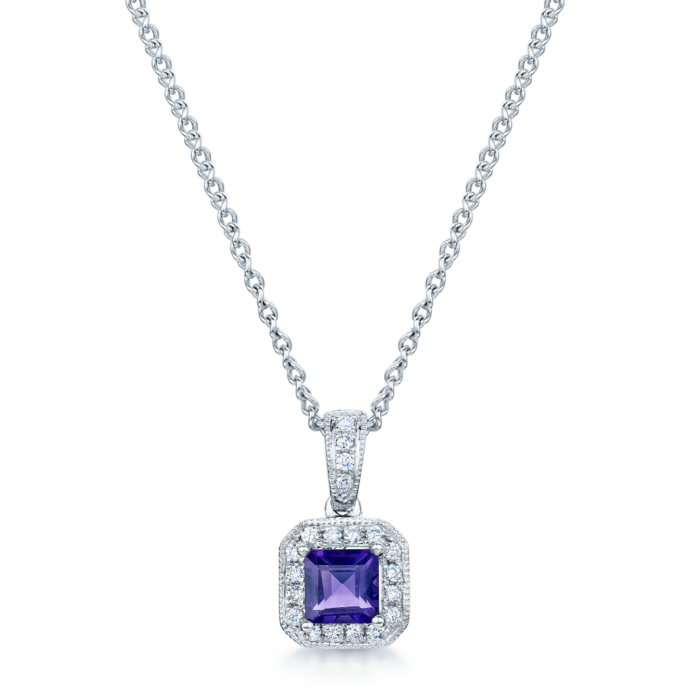 18Ct White Gold Square Amethyst & Diamond Pendant Intended For Most Recent Square Sparkle Halo Pendant Necklaces (View 24 of 25)