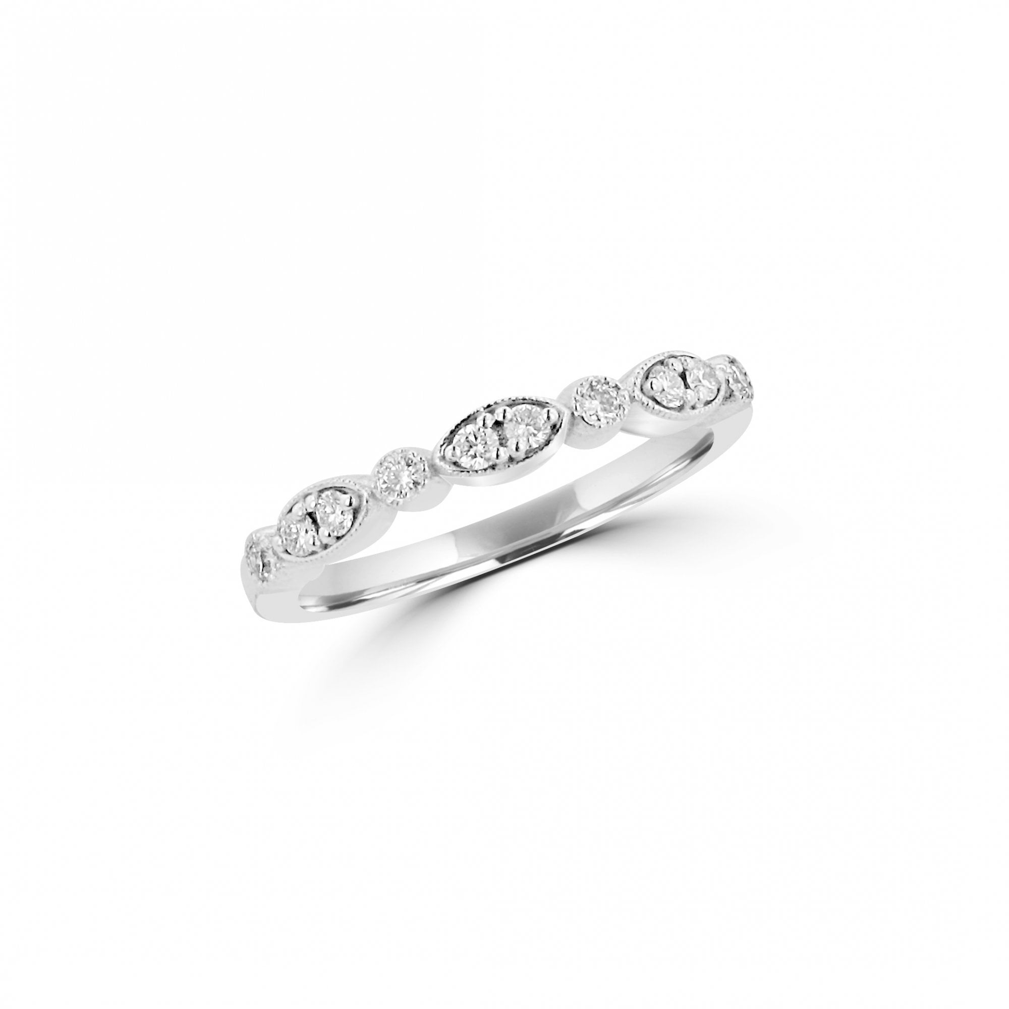 18ct White Gold Vintage Inspired Delicate Diamond Band Ring With Milgrain Edge Within Most Current Diamond Art Deco Inspired Anniversary Bands In White Gold (View 18 of 25)