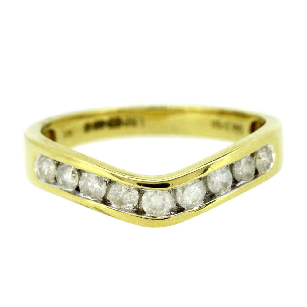 18ct Yellow Gold 50pts Diamond Wishbone Ring For Most Recently Released Sparkling Wishbone Rings (View 12 of 25)