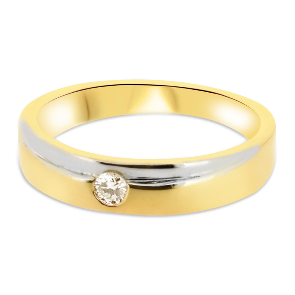 18ct Yellow Gold And White Gold 4mm Band With Round Brilliant Cut Diamond  Vintage Wedding Ring Da11 Throughout 2017 Simple Sparkling Band Rings (View 22 of 25)