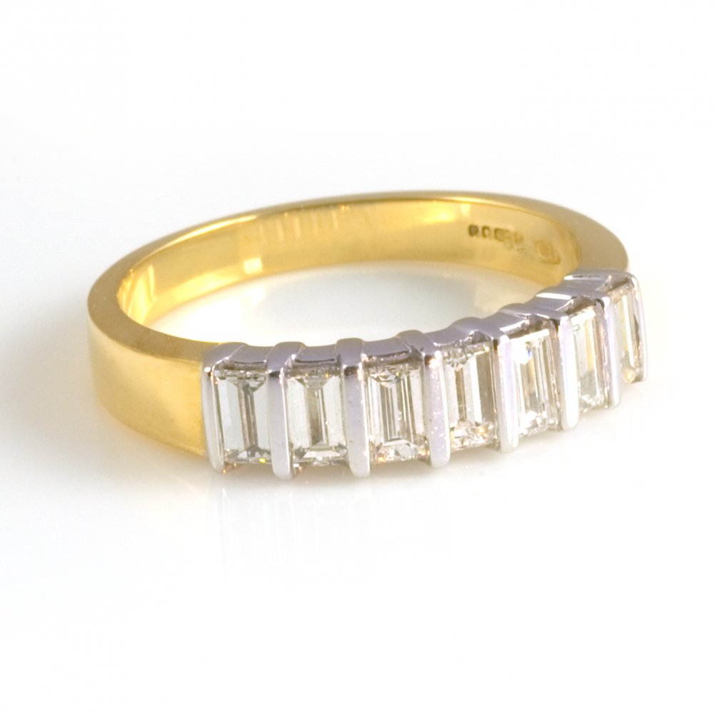 18Ct Yellow Gold Baguette Cut Diamond Half Eternity Ring Intended For Most Popular Baguette Diamond Anniversary Bands In White Gold (View 9 of 25)