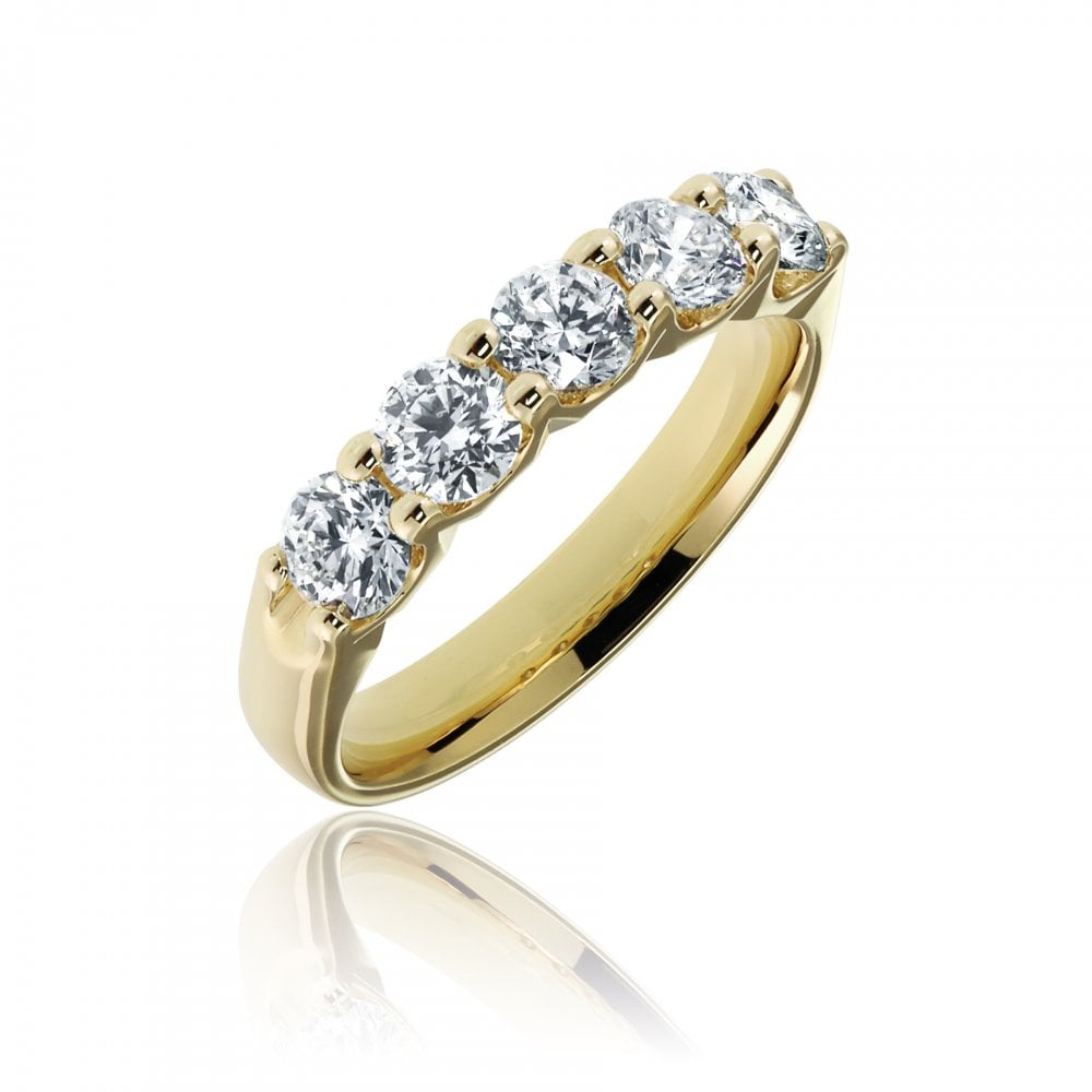 18ct Yellow Gold Diamond Five Stone Ring With Regard To Current Diamond Five Stone Swirl Anniversary Bands In White Gold (View 14 of 25)