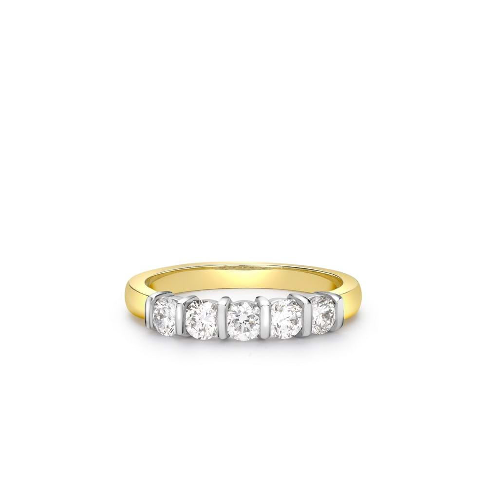 18Ct Yellow Gold Five Stone Bar Set Diamond Ring In Newest Diamond Five Stone Bar Set Anniversary Bands In White Gold (View 7 of 25)