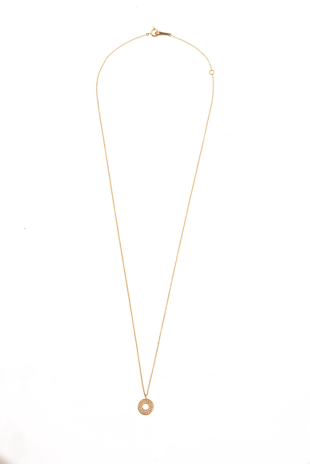 18k Gold And Diamond Circle Necklace (n5235 Y) Regarding Current Circle Of Sparkle Necklaces (View 14 of 25)