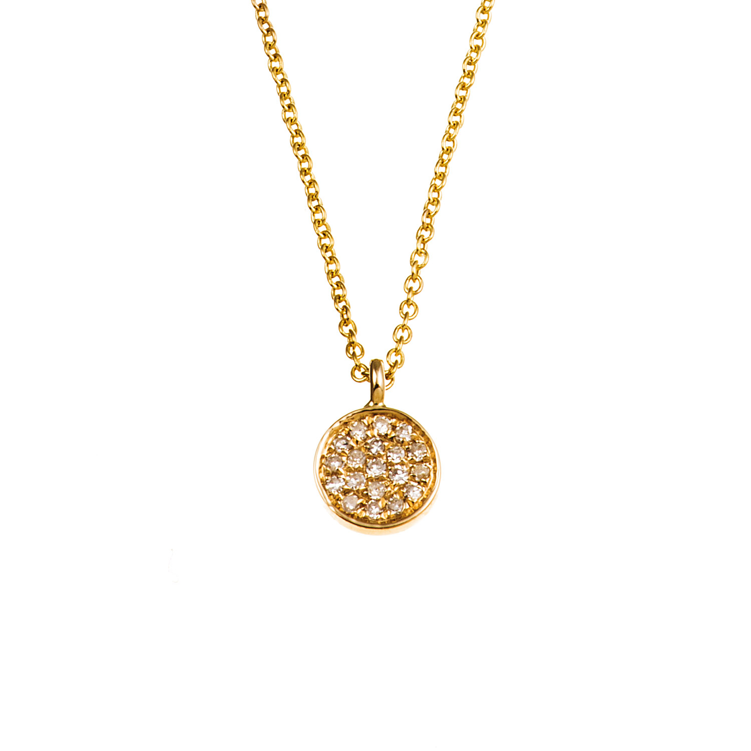 18K Gold And Diamond Mini Circle Necklace (N5705 Y) Regarding Most Popular Circle Of Sparkle Necklaces (View 2 of 25)