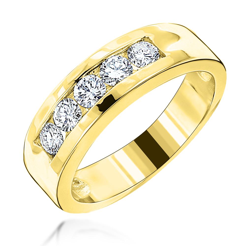 18k Gold Men's Diamond Wedding Band 5 Stone Anniversary Ring (View 8 of 25)