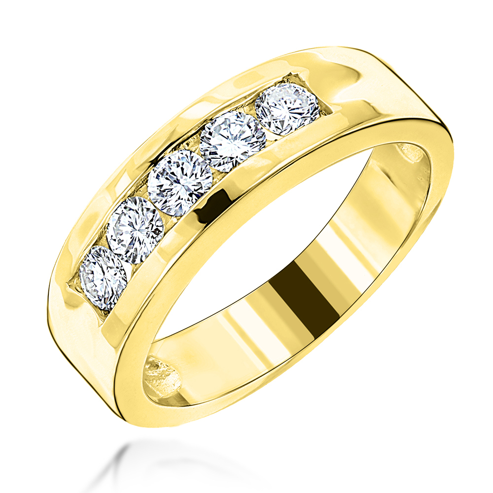 18K Gold Men's Diamond Wedding Band 5 Stone Anniversary Ring  (View 3 of 25)