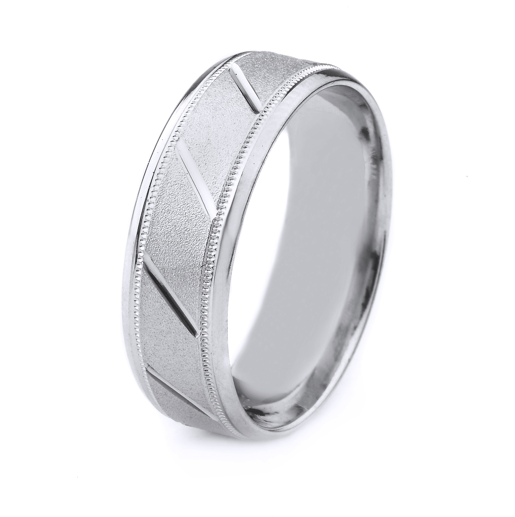 18k Gold Men's Wedding Band With Stone Finish And Slant Cut With Current Diamond Slant Anniversary Bands In White Gold (View 17 of 25)