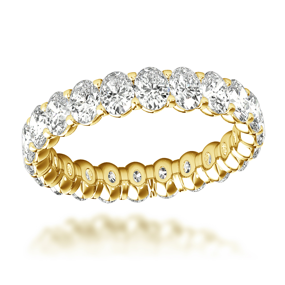 18K Gold Oval Cut Diamond Anniversary Ring Eternity Band For Women 3Ct Regarding Recent Diamond Anniversary Bands In White Gold (View 6 of 25)