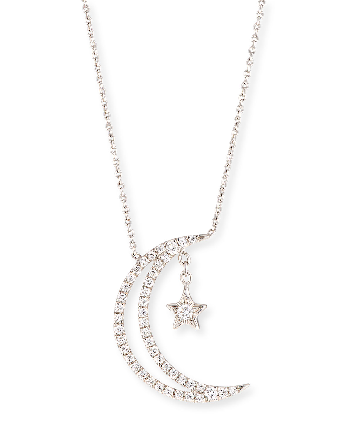 18K Half Moon & Star Pendant Necklace W/ Diamonds Pertaining To Best And Newest Polished Moon & Star Pendant Necklaces (View 6 of 25)