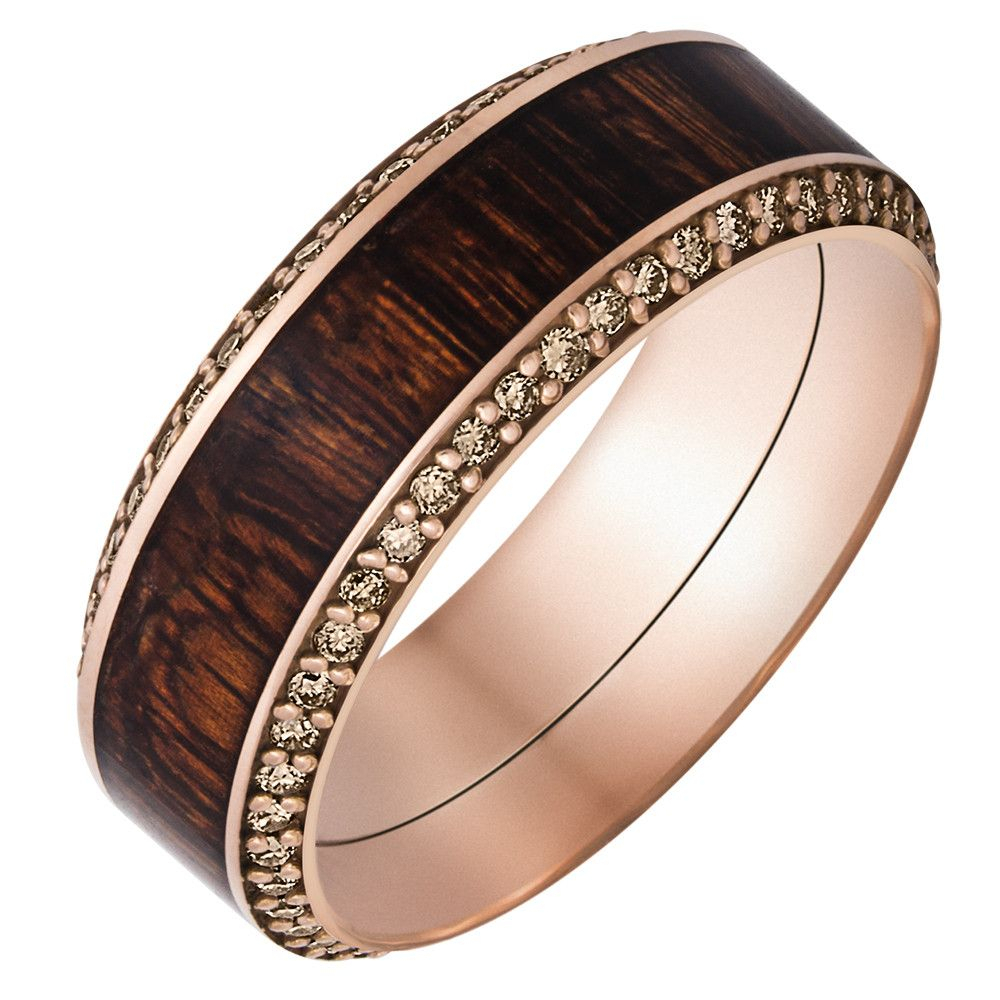 18k Rose Gold Band Fused With Mexican Cocobollo Hardwood With Regard To Recent Champagne Diamond Anniversary Bands In Rose Gold (View 11 of 25)