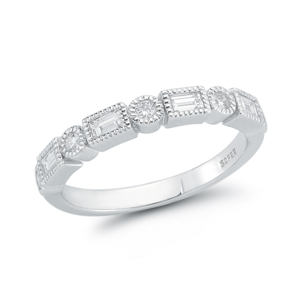 18k White Gold Alternating Round And Baguette Band ( (View 13 of 25)