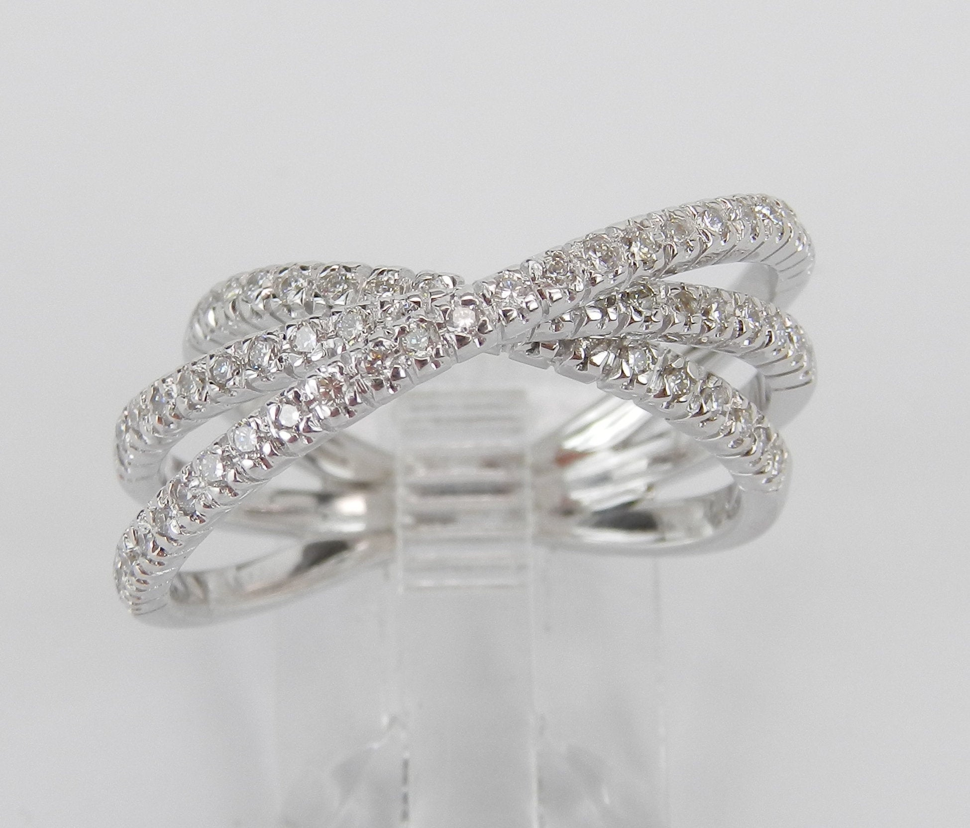 18K White Gold Diamond Crossover Wedding Ring Multi Row Anniversary Band  Size  (View 6 of 25)