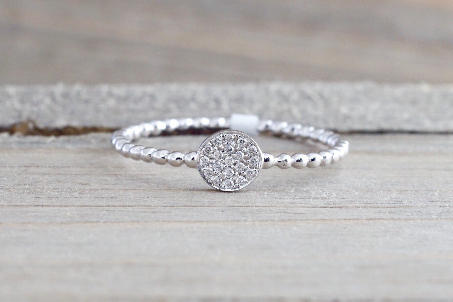 18K White Gold Diamond Pave Disk Ball Bead Stackable Ring Band Promise  Anniversary Fashion Rope Inside Most Recent Polished & Pavé Bead Open Rings (View 3 of 25)