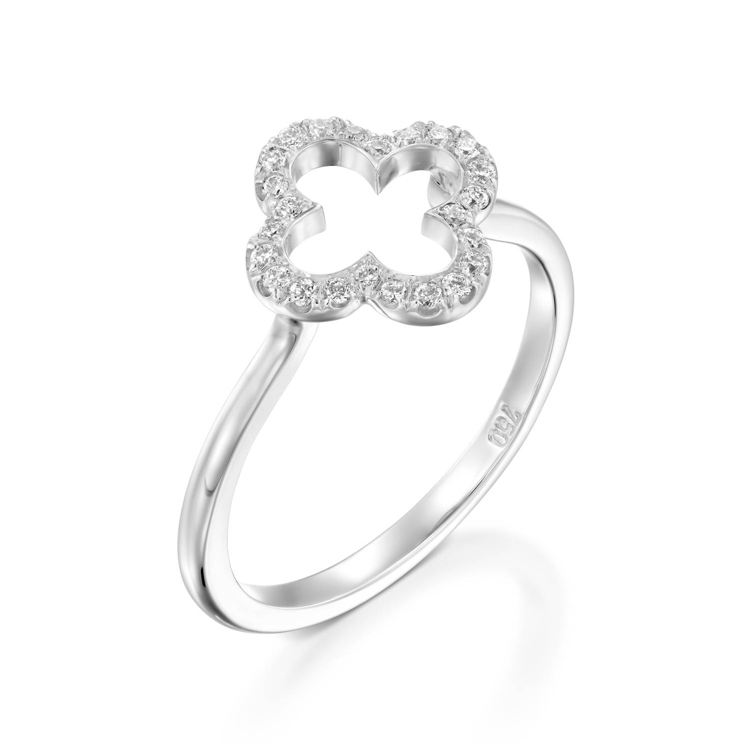 18K White Gold Four Leaf Clover Diamond, Engagement Ring For Women, Wedding  Band, Bridal Set, Bring Luck Jewelry, Lucky Ring, Chance Ring For 2018 Lucky Four Leaf Clover Open Rings (View 2 of 25)