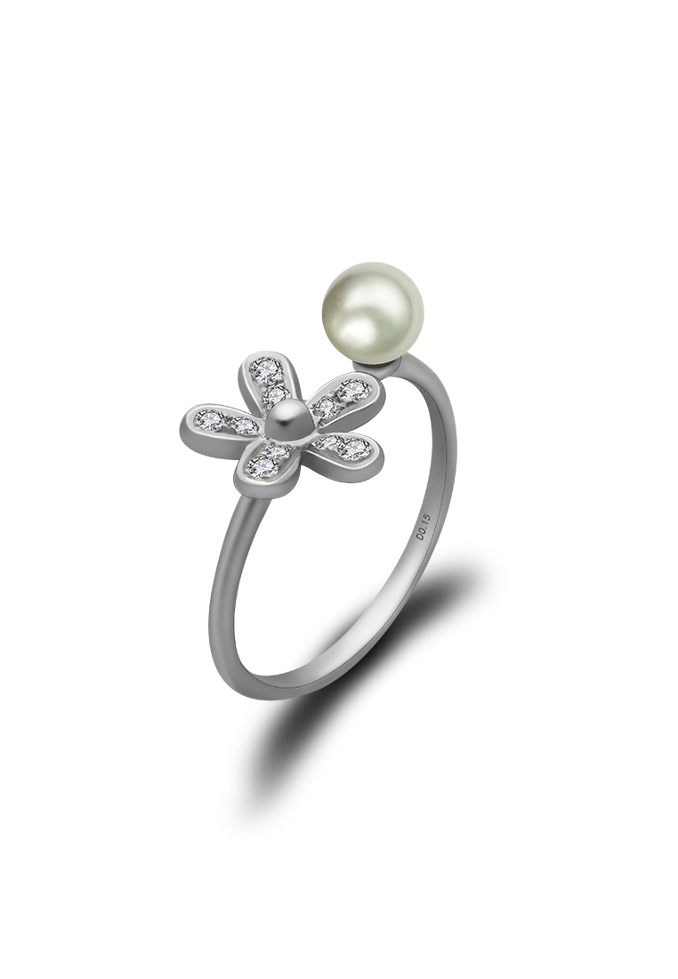 18k White Gold Freshwater Pearl With Pavé Set Diamond Flower Ring Intended For Most Recent Pavé Flower Rings (View 10 of 25)