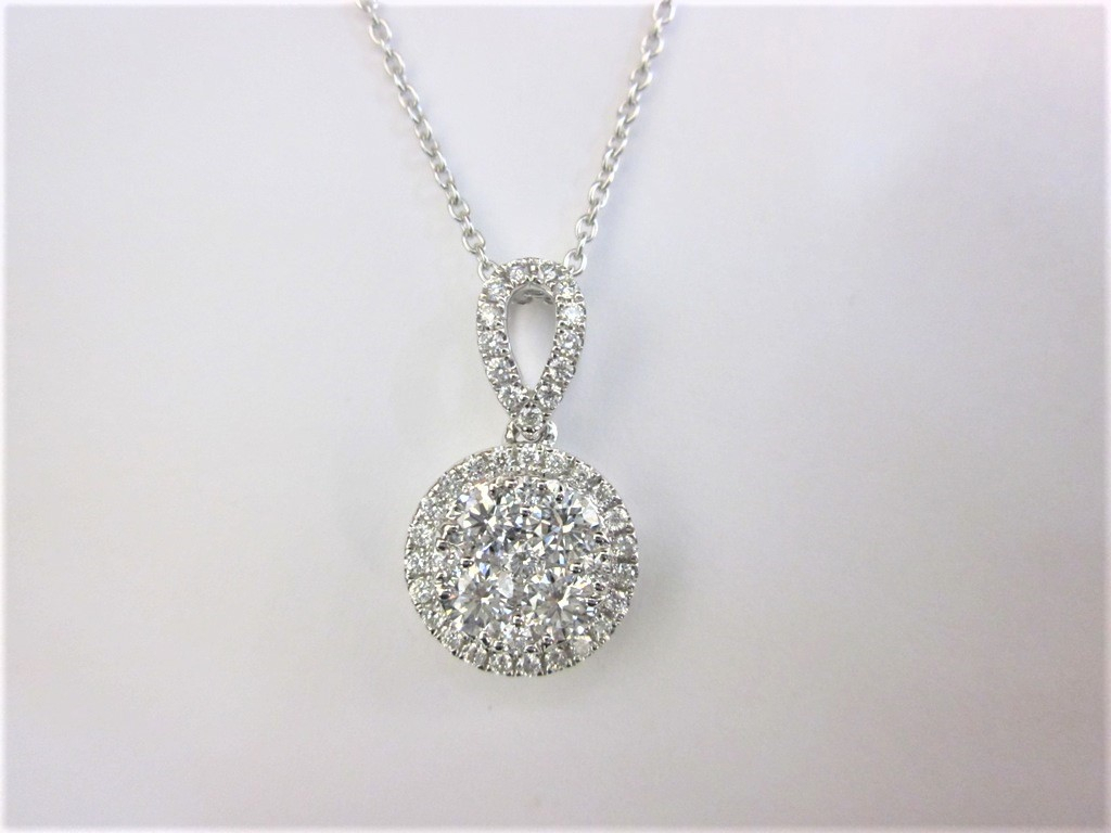 18K White Gold Round Cluster Diamond Pendant With Regard To Most Recent Round Sparkle Halo Necklaces (Gallery 19 of 25)