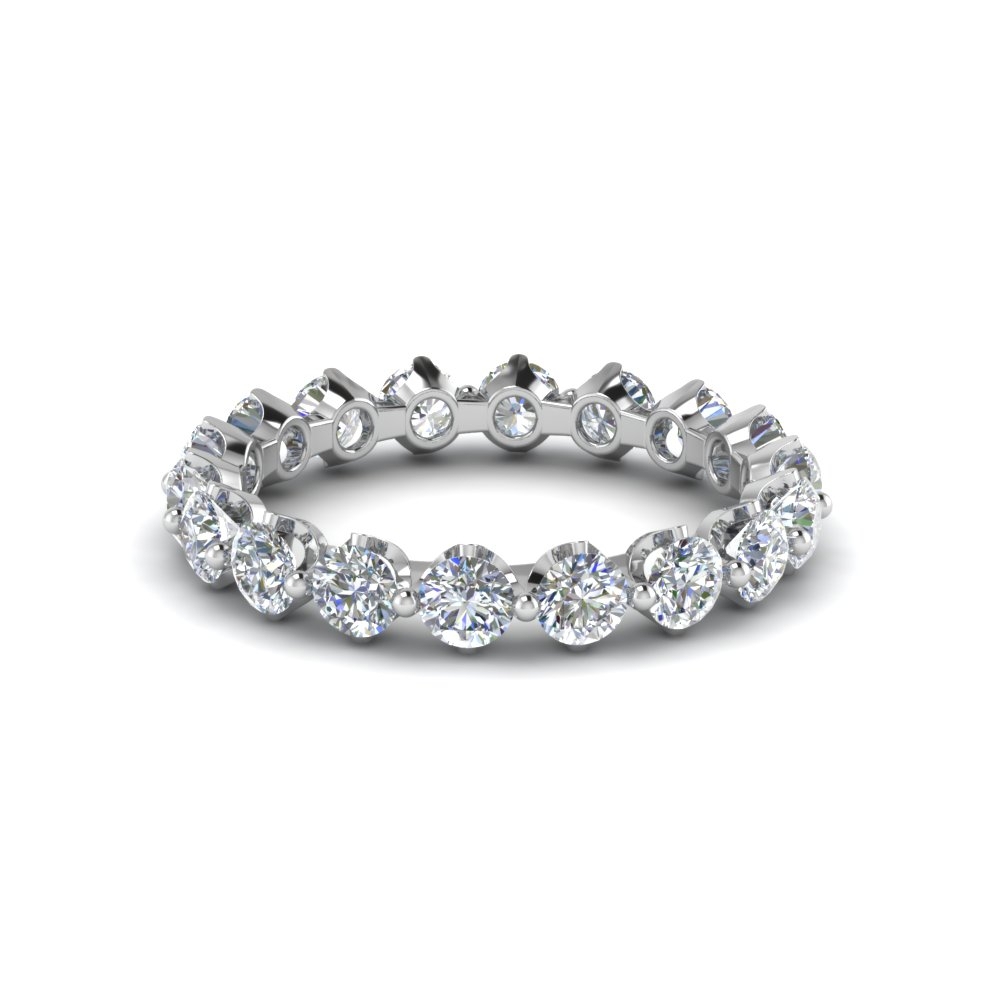 18k White Gold Round Cut Diamond Eternity Bands Throughout Current Baguette And Round Diamond Alternating Multi Row Anniversary Bands In White Gold (View 8 of 25)